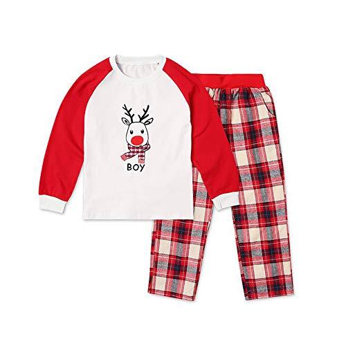 Weihnachten Familie Urlaub Familie Passenden Weihnachten Eltern-Kind-Anzug, Pyjamas Cute Elk Print Tops + Plaid Hosen