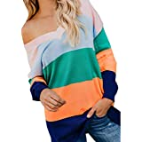 40%-60% Off!Ieason Fashion Womens Sexy Stripe Tops V-Neck Color Block Knitted Shirt Blouse Sweater