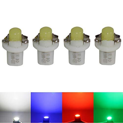 LED-Mafia® Lot de 4 Ampoules COB pour Tableau de Bord Blanc/Bleu/Rouge/Cockpit D