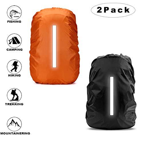 Sunshine smile Regenhülle Rucksack Schulranzen Regenschutz wasserdichte Regenüberzug Ranzen Rucksackschutz 2 Pack (Schwarz + Orange)