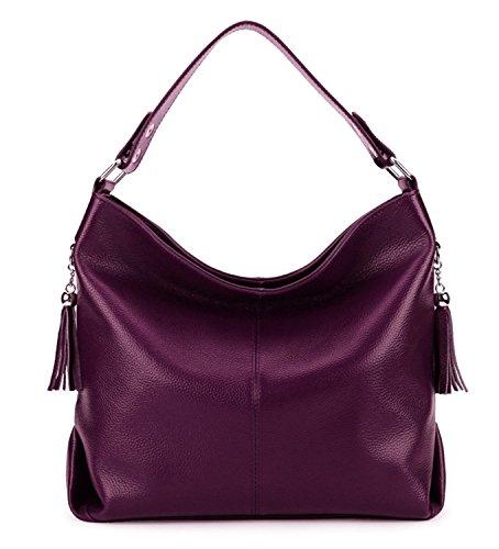 AINIMOER Damen Leder Vintage umhängetasche Hand große Tote spitzengriff quer Portemonnaie körper Taschen einheitsgröße lila -
