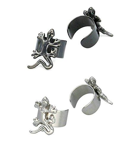 Ohrklemme Ear Cuff Ohrstecker Edelstahl Allergiefrei für Damen Herren Silber Schwarz (Ear Cuff Gecko)