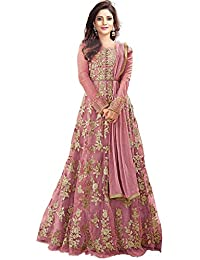 32b5ef09345 Lovender Fashion Women s Net Heavy Embroidered With Stone Work Semi Stiched  Anarkali Gown(Free Size