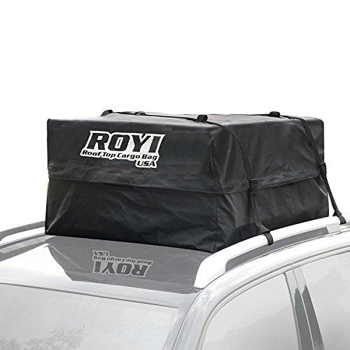 Sac de Toit Auto, ROYI Heavy-Duty Coffre de Toit 100% Imperméable pour Voiture pour Voyage et Transport de Bagages, Camping - Garantie de 3 ans - Super Grande Capacité de Stockage (0.428 m3)