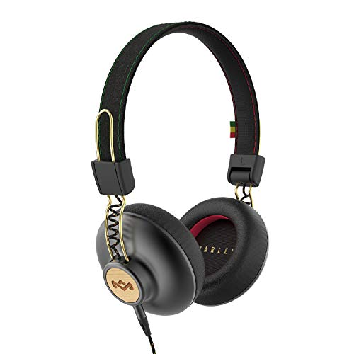 House of Marley, Positive Vibration 2 On-Ear Headphones   Comfortable Fit, Foldable Design, Sound, Single Sided Tangle-Free Braided Cable   Rasta