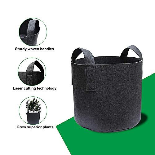Nuoyi 5er-Pack 7 Gallonen Grow Bags/Belüftungs-Stofftöpfe mit Griffen (schwarz) Pflanzen Grow Bags mit Griffen, Stofftöpfe für das Pflanzen im Innen- und Außenbereich