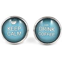 SCHMUCKZUCKER Damen Ohrstecker Spruch Keep calm and drink Coffee Kaffee türkis silber-farben 14mm