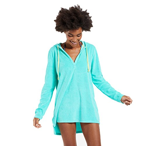 Life is Good Damen Terry Beach Cover up Summer Love Smile, damen, Cool Aqua (Terry Cover Up Beach)