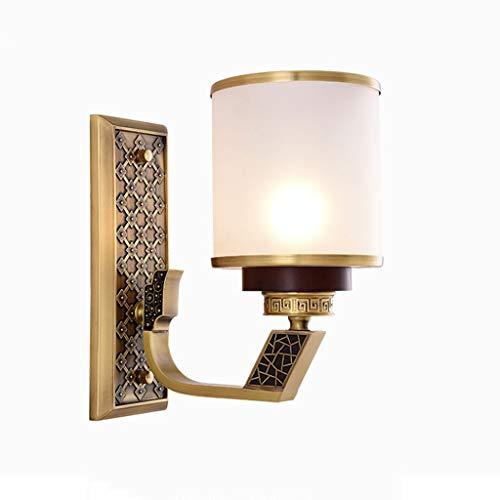 LZY Wandlampe- Antike Mahagoni Kupfer Wandleuchte, E27 Wohnzimmer Schlafzimmer Nacht Hintergrund Korridor Gänge dekorative Lichter (Size : A) - Mahagoni Gebeizt