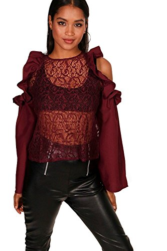 Wein Damen Ruby Ruffle Lace Cold Shoulder Top