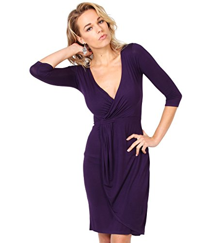 KRISP 6174-PUR-18 Damen Jersey Stretch Wrap Kleid (Violett, -