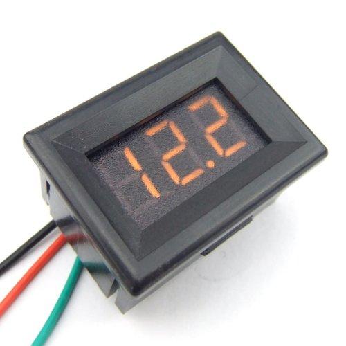 DEOK DC 0-30V Digital Voltmeter gelbe LED Anzeigetafel , Spannungsprüfer mit Low Voltage Warnung Monitor Volt-Test Meter geeignet für Träger / Auto Batterie / Motorrad-Batterie