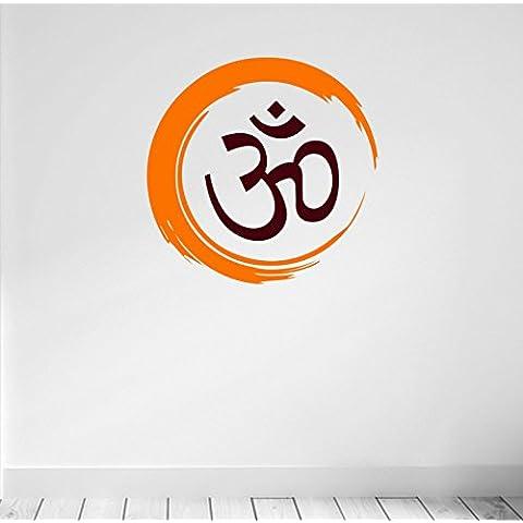 Yoga. con simbolo Hindu Om. Inspirational qualità in vinile opaco Decal. da 8 colori e 2 scelte.,  - Orange & Brown, 57cm wide x 57cm