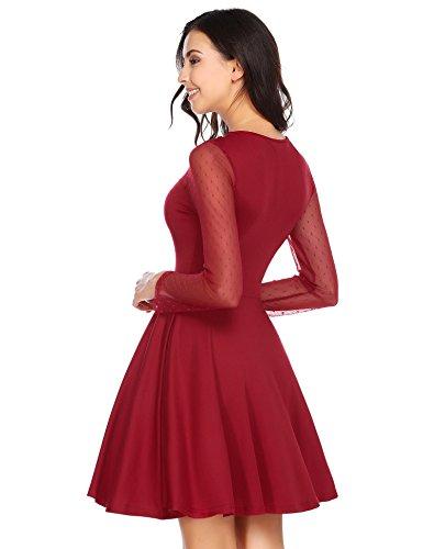 ACEVOG Damen Elegante Langarme Kleider Tüll A-Linien Minikleid Festliches Brautjungfernkleid Abendkleid Partykleid Cocktailkleid Weinrot
