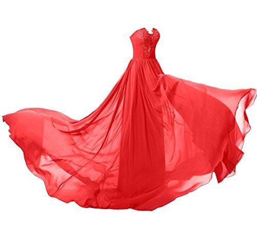 Ysmo Frauen Schatz Spitze Applique Langes Abschlussball Kleid Chiffon  Gerichts Zug Abend Kleid Rot