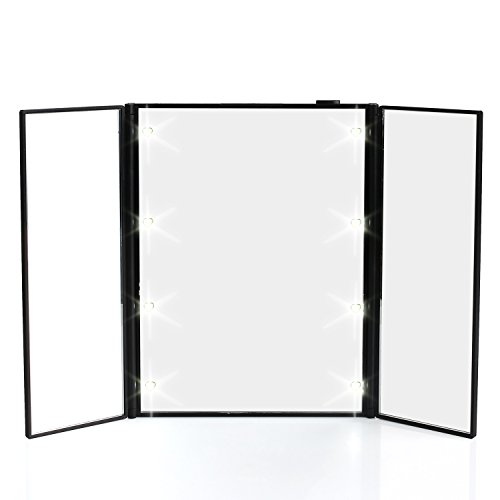MVPOWER Espejo de Maquillaje LED Plegable Espejo Cosmético de 3 páginas| con 8 LEDs| Portatil Espejo Cosmético para Maquillaje (Negro)