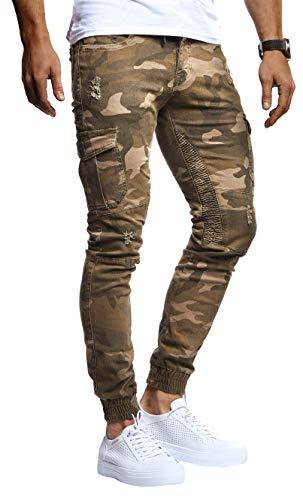 LEIF NELSON Herren Hose Jeans Jeanshose Chino Cargo Chinohose Jogger Freizeithose Slim Fit LN9325; W29L30, Khaki
