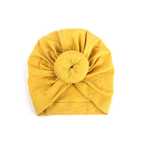 1pc Baby-Kappen-Hut-Kind-Hut Kopftuch Baby Cotton Donut Hat Solid Color geknotete Kapuze Donut für Babys 1 bis 2 Jahre alt (Kurkuma)
