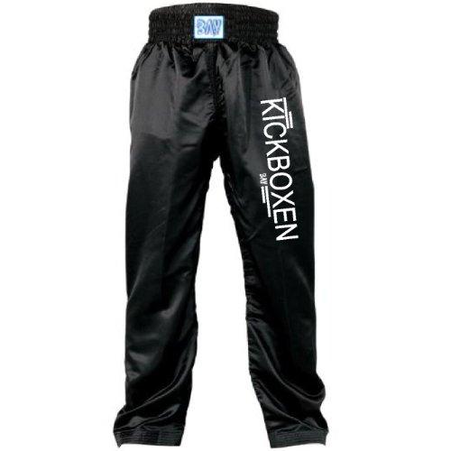 BAY 'EDEL STICK' Kickboxhose, Größe 110, komplett schwarz, gestickte Schrift KICKBOXEN, Thaiboxhose lang, Hose Kick-Boxen Thaiboxen Muay Thai, Satinhose, black