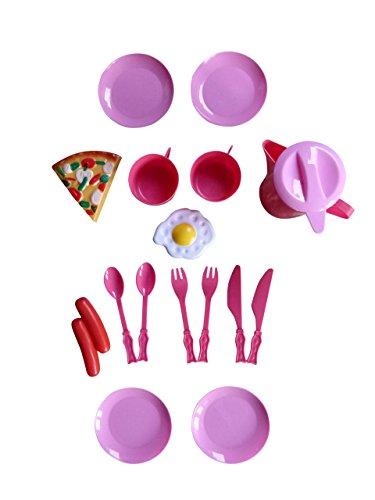 Spielzeug Puppengeschirr, A148, 16 tlg. Set für die Puppenküche oder das Puppenhaus, Geschenk-idee für Jungen und Mädchen für Weihnachten und zum Geburtstag, Geburtstags-Geschenk