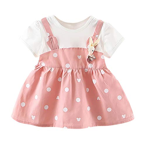 SuperSU Kleider Mädchen►▷ Baby Mädchen Sommerkleid Cottonkleid Locker Karikatur Punkt Print Kleider,Baby Bequeme Strandkleid Minikleid Pyjamaskleid Festliche Taufe Hochzeit (Kleid Super Schickes)