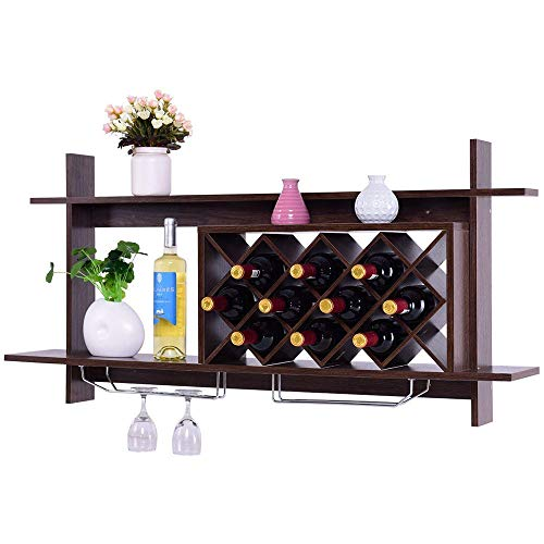 AGZ Massivholz Wand Weinregal Diamantgitter einfache Wand Schließfach Regal Moderne rautenförmige Holz Wein Server für Weinlagerung Display Rack (Black Walnut),BlackWalnut -