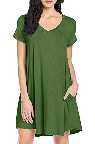 Yidarton Sommerkleid Damen V-Ausschnitt loses Kleid Kurzarm T-Shirt Kleid Grün