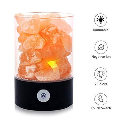 Lámpara de sal del Himalaya,roca de cristal natural 7 colores luz de sal, con de control regulable de brillo táctil, lámpara de dormitorio de cabecera mejor para regalo creativo de salud (Negro)