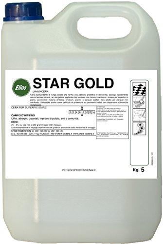 Elios - STAR GOLD cera autolucidante di lunga durata che forma una pellicola protettiva e resistente, asciuga rapidamente senza lasciare strisce, ad alto potere sigillante che assicura una buona lucentezza. Idonea per superfici in pietra, pavimentidi materia sintetica, linoleum, granito e parquet sigillati kg.5 - cartone 4 taniche kg.5