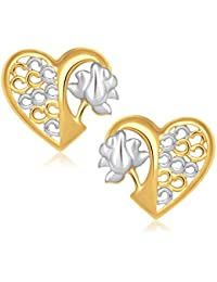 V. K. Jewels Rose In Heart Alloy Stud Earring For Women
