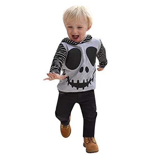 Kostüm Kleinkind Batman Neugeborenen - Riou Kinder Langarm Halloween Kostüm Top Set Baby Kleidung Set Kleinkind Neugeborenes Baby Boy Skull Gestreiften Tops Hoodie Hosen Halloween Outfits Set (80, Grau)