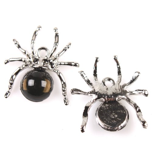 Price comparison product image 12x140666 Black Rhinestone Spider Alloy Charms Pendant Accessories Fit DIY Making