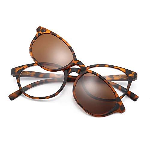 HQMGLASSES Neue Lesebrille mit polarisiertem Magnetclip UV-Schutzbrille aus HD-Harz, geeignet zum Angeln/Fahren von +1,0 bis +3,0,Leopard,+1.0