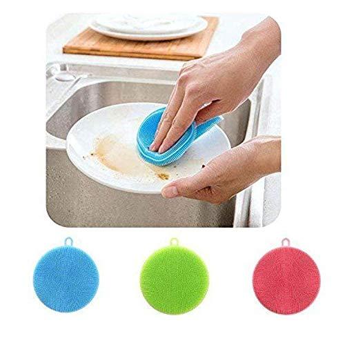 Anwaz Hort Silikon Teller Waschender Schwamm Küchen Wäscher Weiche Reinigung Antibakterielle Bürste Blau