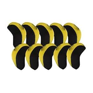 Elixir Golf Unisex Iron Covers (10-Piece), Black/Yellow
