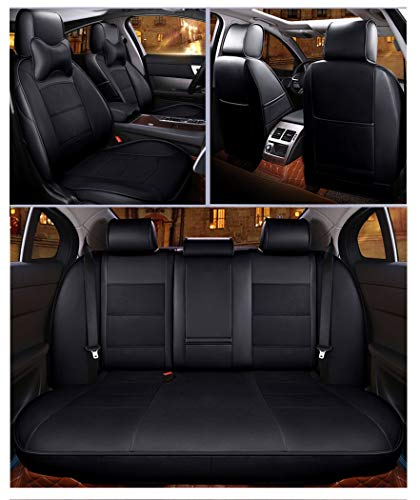 Protezione seggiolino auto for sedili in pelle, compatibile con Volkswagen UP Con poggiatesta (Color : Black-Without pillow)