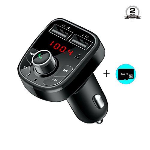 Bluetooth FM Transmitter, LTS Future KFZ Bluetooth Auto Adapter freisprecheinrichtung Car Kit integriertem mit TF Karte Slot und Dual USB Port Ladegerät, MP3 Auto Transmitter mit zusätzlicher 8G TF Karte (Wireless-ladegerät Sender)