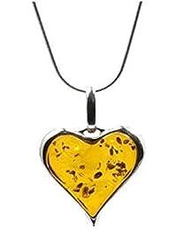 "Baltic Honey Amber Sterling Silver Heart Shaped Pendant, Snake Chain 18"" 46cm"