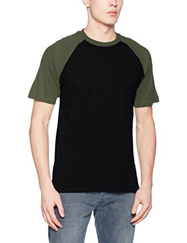 Urban Classics Herren Regular Fit T-Shirt Raglan Contrast Tee TB639, Gr. XX-Large, Schwarz (Black/Olive 00757)