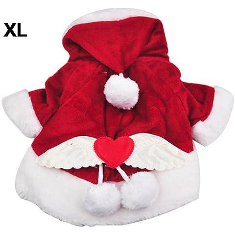 SODIAL(R) Disfraces para perros Navidad del perro del angel Ala Escudo del juego de Santa de lujo para mascotas Regalo - Red (XL)