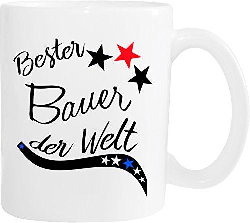 Mister Merchandise Becher Tasse Bester Bauer der Welt. Kaffee Kaffeetasse liebevoll Bedruckt Beruf Job Arbeit Weiß