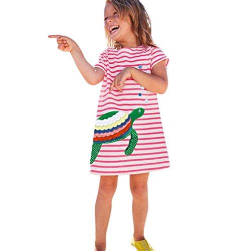 (JERFER Kleinkind Baby Kind Mädchen Cartoon Vogel Stickerei Kleid Streifen Kleid Outfit Kleidung (Rosa B, 6T))