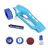 Scrubber - Herramienta de Limpieza inalámbrica para Centrifugado eléctrico, con 3 Cabezales de Cepillo de Limpieza reemplazables, 1 Estropajo, para baño, Piso, Pared y Cocina