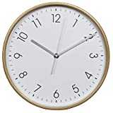Hama Wanduhr HG-250, Holz (geräuscharme Uhr ohne Ticken, 25 cm Durchmesser) weiß/natur