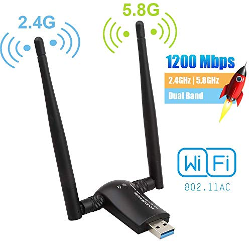 Wifi Windows Xp Tablet (Flybiz WiFi Adapter USB 3.0 WLAN Stick 1200Mbps Dualband (5.8GHz 867Mbps/2.4GHz 300Mbps), mit 2x5dBi Antenna 802.11 ac für PC/Desktop/Laptop/Tablet, Windows XP/Vista/7/8/10, Linx2.6X; Mac OS X)