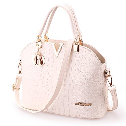- 41TrFN4cHhL - XYH PU Leather Womens Shoulder Bags Top-Handle Handbag Tote Purse Bag (Beige)