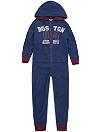 Onezee Boys Fair Isle Pattern All In One Fleece Hooded Jumpsuit with Pockets