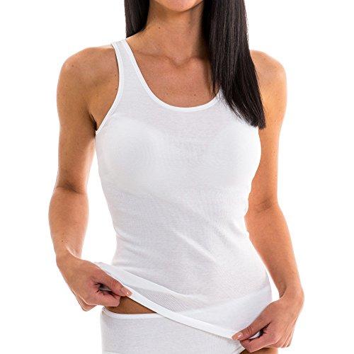 HERMKO 1310 5er Pack Damen Unterhemd aus 100% Baumwolle bis Größe 68/70 Weiß