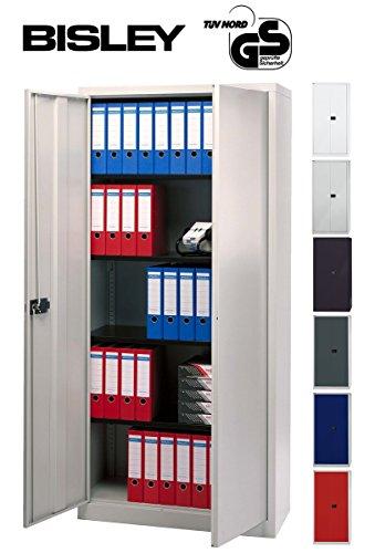 BISLEY Aktenschrank | Werkzeugschrank | Flügeltürenschrank aus Metall abschließbar inkl. 4 Einlegeböden | Stahlschrank ist TüV / GS geprüft