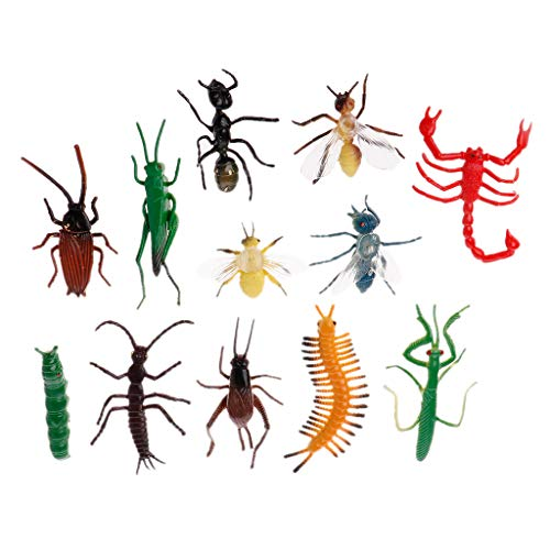 Cansenty 12 Stück Insektenmodelle Kunststoff Schabenwitzige Würfel Halloween Gadget Lernspielzeug (Teenager-witze Für Halloween)